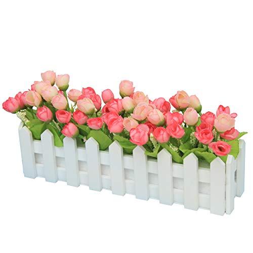 Flikool Artificielle Topiaire Pot Plantes Potted Plant Faux Artificiel Fleur Roses Truque Bonsai l'herbe Verte avec Cloture Decoration Ornements Maison Mariage Terrasse Jardin Deco - Pink