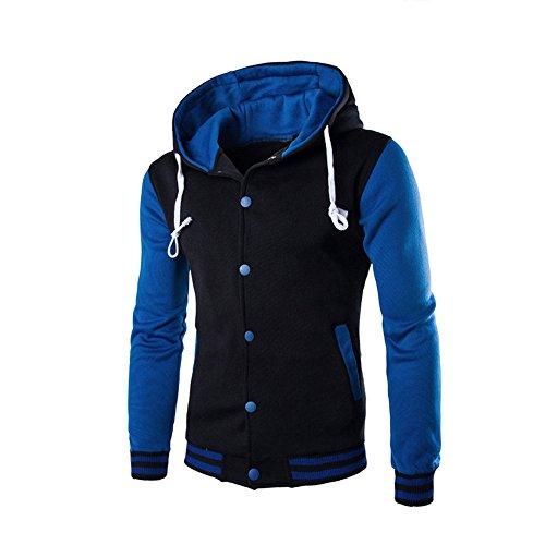 BIKETAFUWY Sudadera con capucha para hombre de gran tamaño, con cremallera, bloque de colores, manga larga, con capucha y bolsillo, azul, XL
