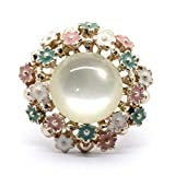 A.R. Fashion New White Flower Gold Plated Finger Ring For Girls/Women (Monalisa Multi)
