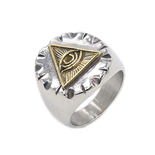 CRYPIN All Seeing Eye Ring for Men Illuminati Eye of Providence Finger Rings Pyramid Triangle Solid Old Style Amulet Retro Ancient Symbol Size 7-15