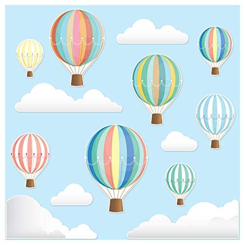 Stickers4 Wandtattoo Kinderzimmer - Wunderschöne Dekorative Heißluftballon-Wand-Sticker –Wandaufkleberfürs Kinderzimmer oder Kinderschlafzimmer - Kinderzimmer Deko Junge - Babyzimmer Deko