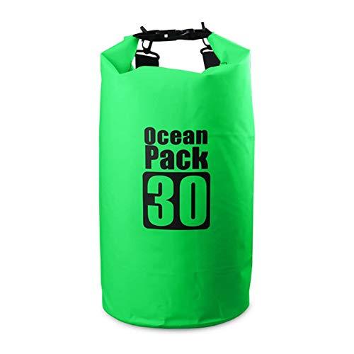 Dry Bag - Mochila de natación impermeable de 30 litros con correa ajustable para el hombro para kayak, canotación, deriva verde impermeable accesorios