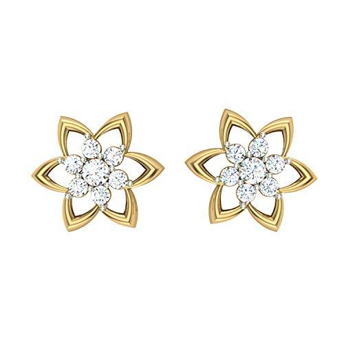 Dishis Designer Jewellery - Pendientes de diamante con certificación IGI/IGLI/DGL de 0,2 quilates (claridad IJ color-I1-I2)