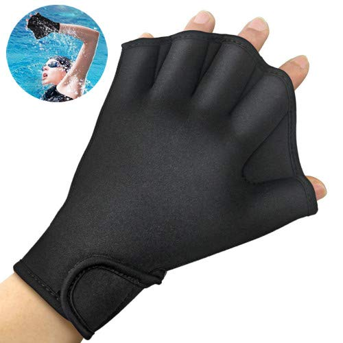 FIVE BEE Web Frog Swim Gloves Aquatic Fitness Water Resistance Training- Webbed Flippers Paddle- with Adjustable Strap- Sizes for Men Women Adult Children (1 Pair, Black) (Medium)
