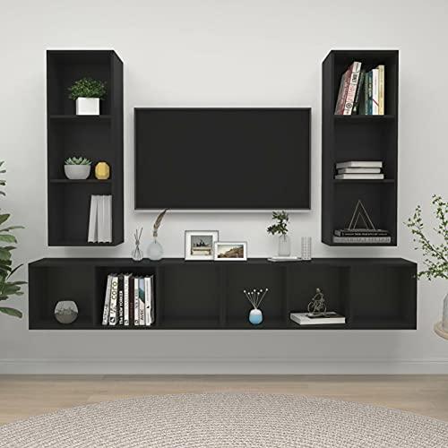 Foecy Mueble de TV Colgante, Juego de 4 uds, Juego de Muebles de Sala de Estar de Cartón Gris Brillante