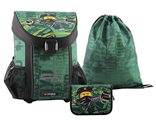 LEGO Bags Schulranzen Set Easy, 3 teilig, Ranzen nur 790 g, Schulset mit Lego NINJAGO Motiv Energy, Büchertasche ca. 40 cm, 22 Liter