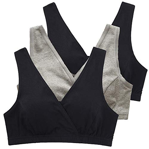 KUCI Nursing Tank Sleep Bra, Women's Nursing Bra Sleep Tank for Nursing and Maternity (XL, Black+Black+Grey)