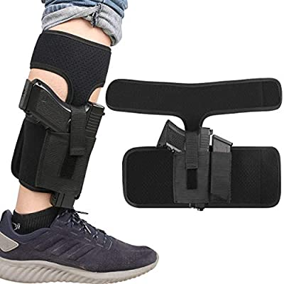XAegis Ankle Holster with Calf Strap and Spare Magazine Pouch Comfortable Conceal Carry Holster for Small or Medium Gun Frame with Length Less 7 inches