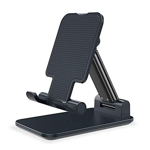 Metal Cell Phone Stand For Desk, [fully Foldable] Weighted Base [metal Rod] Adjustable Desktop Tablet Stand For Desk Phone Holder Cradle Dock Compatiable With 4'-12.9' Mobile Phone/ipad/tablet/kindle