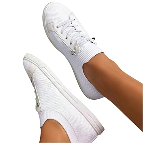 Winging Zapatos de un solo color con punta redonda de talla grande Antideslizante Unisexo zapatillas de deporte Calzado casual para mujer Multicolor Zapatos planos para correr