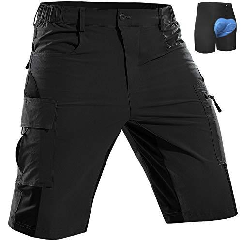 Cycorld Men's-Mountain-Bike-Shorts-Padded-MTB-Shorts-Cycling-Biking-Riding-Baggy-Pants Quick Dry, Lightweght with Pockets Black