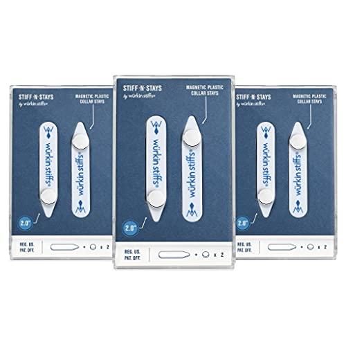 Wurkin Stiffs - 3 pair 2.0 inch Stiff-N-Stay Plastic Magnetic Collar Stays with storage case