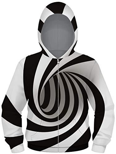 Ocean Plus Jungen Digitaldruck Hoodie Sweatjacke mit Kapuze Kapuzenjacke Kapuzenpullover mit Reißverschluss (XL (Körpergröße: 155-160cm), Wirbelstreifen)