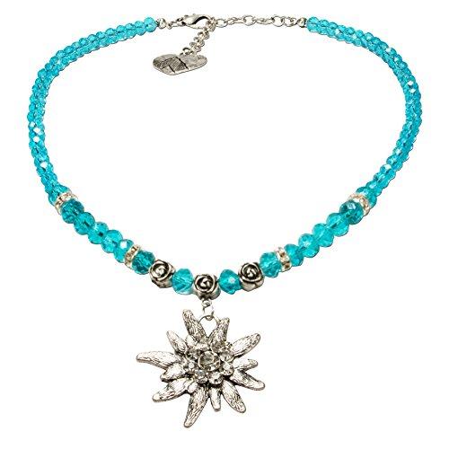 Alpenflüstern Perlen-Trachtenkette Fiona Crystal mit Strass-Edelweiß groß - Damen-Trachtenschmuck Dirndlkette türkis DHK142
