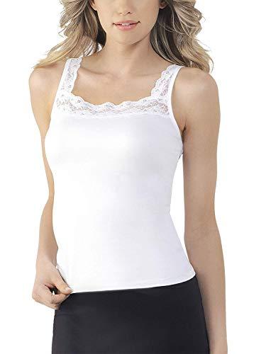 VASSARETTE Women's Microfiber Camisole 17072, White Ice, Small