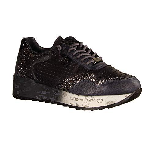 Cetti Damen Sneaker C-848 SRA Glitter Tin Antracita (grau) - sportlicher Schnürschuh - Damenschuhe Top Trends, Grau, Leder grau 723229
