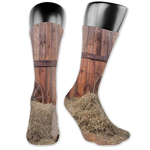 DHNKW Socks Compression Medium Calf Crew Sock,Rural Old Horse Stable Barn Interior Hay And Wood Planks Image Print