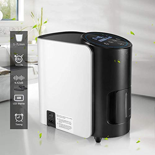 HUKOER Concentrador de oxígeno, generador de oxígeno ajustable de 1-7 l/min con anuncio de voz y temporizador de 5 horas, concentrador de oxígeno...