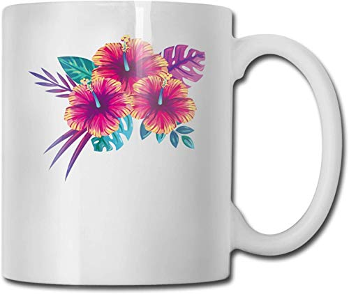 Blooming Summer Flowers Unique Ceramic White Coffee Mug Tea Cup for Office Home Fun Novelty Gift Funny Drink Cup for Men Women-Blooming Summer Flowers, 11 oz