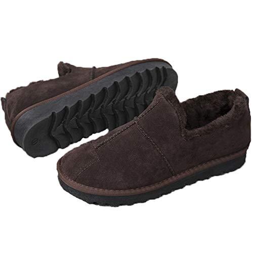 Botas de Invierno Unisex para Hombres Mocasines de Gamuza de Felpa cálida de Color sólido de Parte Superior Baja Antideslizantes Zapatos Casuales para Interiores y Exteriores