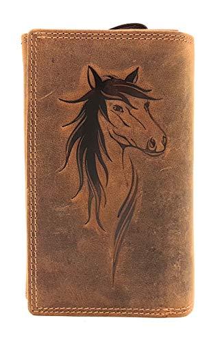 extra große echt Leder Damen Geldbörse mit RFID Schutz Jockey Club Pferd naturbelassenes Büffelleder Cognac braun