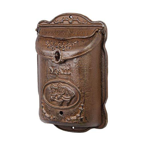 Moritz Gußeisen Briefkasten zur Wandmontage antik Optik Braun Old Style mit Pferde Motiv 39,2 x 25,2 cm