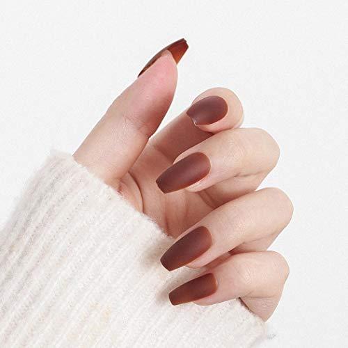 Flrora Matte Sargpresse auf Nägeln Rote Ballerina Vollständige Abdeckung Gefälschte Nägel Mode Acryl Falsche Nägel für Frauen und Mädchen (24 Stück)