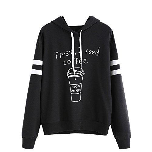 VENMO Mujer Carta de Manga Larga Sudadera con Capucha Suéter Camiseta Blusa Tops, First I Need Coffee (L, Negro)
