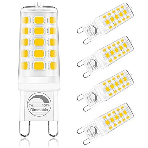 ONSTUY Bombilla LED G9 Regulable,3000K Blanco Cálido,4W G9 Bombillas LED,Lámpara Halógeno Equivalente 40W,400Lm,Ángulo de Luz de 360°,AC 220-240V,Sin Parpadeos,Paquete de 5