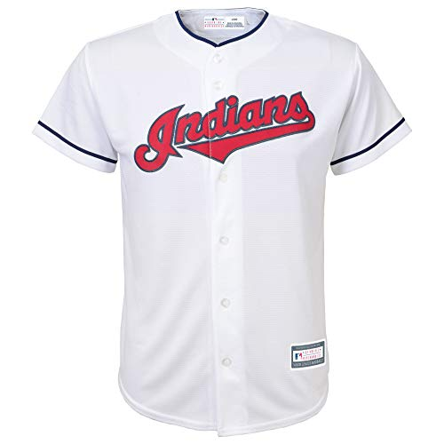Outerstuff MLB Youth 8-20 Blank Cool Base Home Color Team Jersey (Medium 10/12, Cleveland Indians Home White)