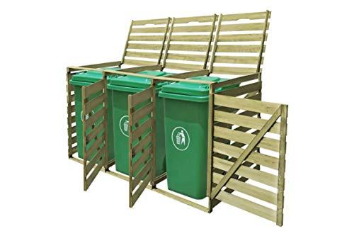 Cubrecubos de madera para cubo de basura de 3 x 240 L