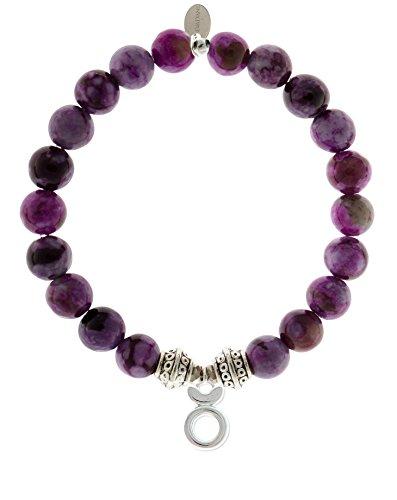 EvaDane Natural Sugilite Gemstone Tibetan Bead Taurus Charm Stretch Bracelet - Size 7 Inch (1_Sug_S_T_Tau_7)