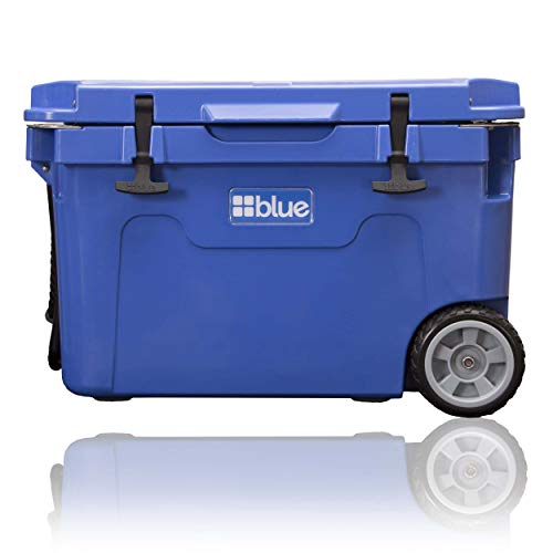 Blue Coolers Ice Vault – 55 Quart, Roto-Molded Ice Cooler with Wheels | Large Ice Chest Holds Ice up to 10 Days | Trademark Blue
