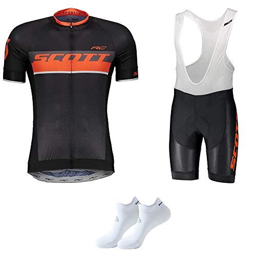Abbigliamento da Ciclismo per Uomo Set Traspirante Quick Dry Maglia Manica Corta da Ciclista + Cuscino 3D Imbottito da Equitazione Pantalone Pantalone