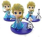 Yangzou Frozen Princess Character Toy 12-16cm Decoración Linda Versión Q Muñeca Hecha a Mano Cumpleaños Sorpresa Muñeca Adorno Decoración (3 Piezas / 1 Juego)