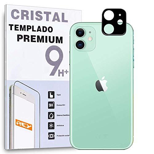 REY Protector de Pantalla 3D para Cámara Trasera de iPhone 11, Negro, Cristal Vidrio Templado Premium, 3D / 4D / 5D