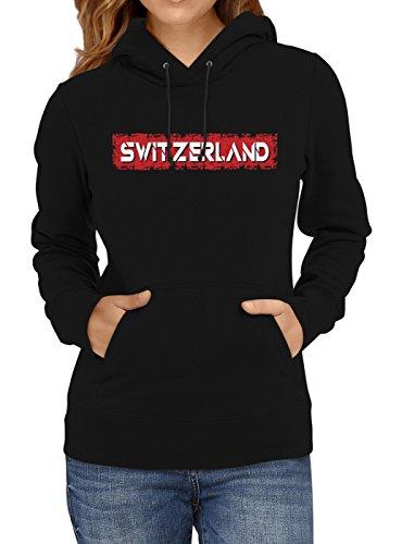Shirt Happenz Schweiz Weltmeisterschaft 2018#29 Premium Hoodie Fan Trikot Fußball WM Nationalmannschaft Frauen Kapuzenpullover, Farbe:Schwarz;Größe:L