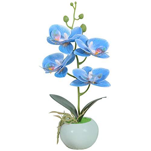 VIVILINEN Mini Flores Artificiales Plásticos Flor de Phalaenopsis realistas Orquídea Mariposa con Maceta Imitación Cerámica Decoración Cálida para Hogar Dormitorio y Oficina (Azul)