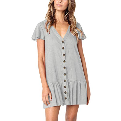 Great Features Of TWGONE Tunic Tops for Women Short Sleeve Dressy V-Neck Flare Sleeve Button Sundres...