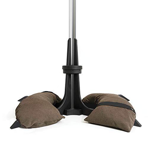 Baser Sonnenschirmständer mit befüllbarer Sandsäcken 30 kg/40 kg/50 kg. Alternativ zum Granit Sonnenschirmständer mit Rollen. Befüllbar Sonnenschirm Schirmständer mit Tragegriff (50 KG, Dunkelbraun)