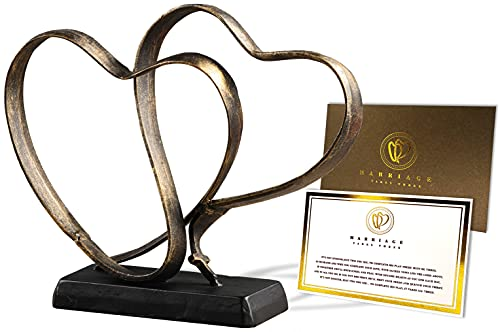 Wedding Anniversary Couples Gift - Two Hearts and Cross Iron...