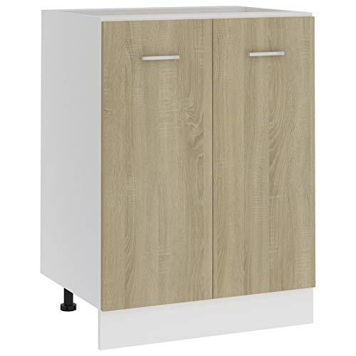 Irfora Festnight Küchenschrank Aufbewahrungsschrank Unterschrank Küchenregal Einbauküche Küchenunterschrank Küchenmöbel Sonoma-Eiche 60x46x81,5 cm Spanplatte