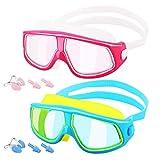 HeySplash [2PZS Universal Gafas de Natación para Niños, Anti-Niebla Gafas de Robustas Lentes PC con Protección UV en Marco Grande para Niños de 5 a 16 Años - Azul & Amarillo + Rojo & Blanco