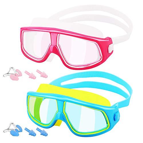 MoKo [2PZS Gafas de Natación para Niños con Protección Anti-vaho UV Sin Fugas de Visión Amplia Transparente con Tapones para Los Oídos y Pinzas para la Nariz - Azúl Amarillo + Rojo Blanco