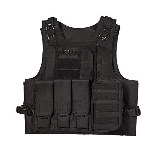 Jipemtra Tactical MOLLE Airsoft Vest Adjustable Paintball Combat Training Vest Detachable (Black)