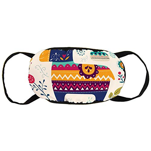 DKISEE Warm Comfortabel Katoen Gezichtsmasker Bloem En Ezel Art Anti-Stof Mond Masker Herbruikbare Outdoor Beschermend Masker voor Fietsen Camping Reizen 9.0 x 4.7 inch