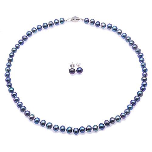 JYX Perlenkette Hochzeit Set 7mm Süßwasser Blau Zuchtperlen Halskette und Ohrringe Schmuck-Set