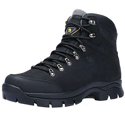CAMEL CROWN Mens Hiking Boots Outdoor Trekking Backpacking Boot Mid Hiker Boot for Men Black