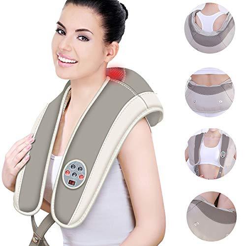 GRX-AMD Nackenmassagegerat mit warmefunktion, Rückenmassagegerät, Nacken- und Schultermassagegerät, 99-Modus-Massage, 20 Stärken, Nacken-, Schulter-, Rücken-, Nacken-, Fuß-, Infrarot-Heizmassage