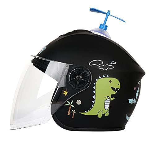 HVW Casco Mezzo Moto per Bambini Casco per Scooter per Bambini Cartoon Dinosauro Carino Batteria per Auto Leggero Casco Motocicletta con Cappuccio di Sicurezza per età 3-8 Ragazza Ragazzo,Nero